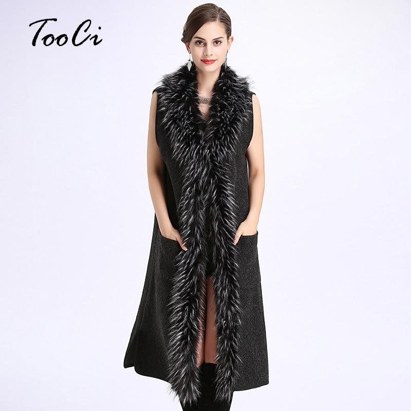 New Spring Women Black V collar Vest Jacket Lady Fashion Faux Fur Collar Sleeveless Knit Cardigan