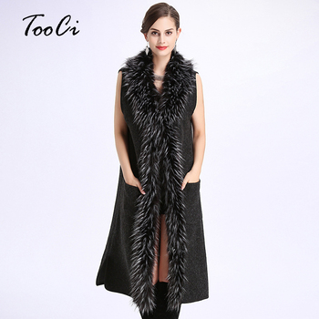 Autumn And Winter Women New V-collar Vest Jacket Lady Fashion  Faux Fur Collar  Sleeveless Knit Cardigan Poncho