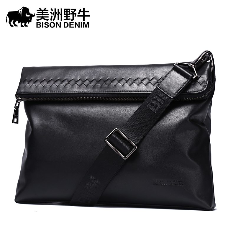 BISON DENIM Brand Handbag Men Shoulder Bags Genuine Leather Business Travel Messenger Bag Cowhide Men's Briefcase Free Shipping padieoe men s genuine leather briefcase famous brand business cowhide leather men messenger bag casual handbags shoulder bags