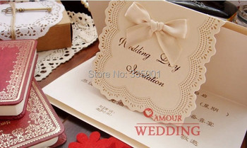wedding invitation card --  customised printing luxury marriage  Paper Card laser cut type cards with a ribbon 100pcs/lot