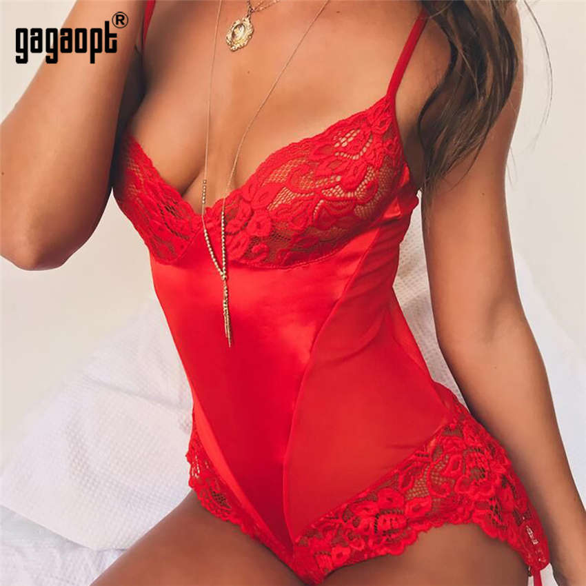 Gagaopt Lace Bodysuit Women V Neck Sexy Bodysuit Red Ladies Skinny Bodysuit   Jumpsuit   Overalls Sleepwear