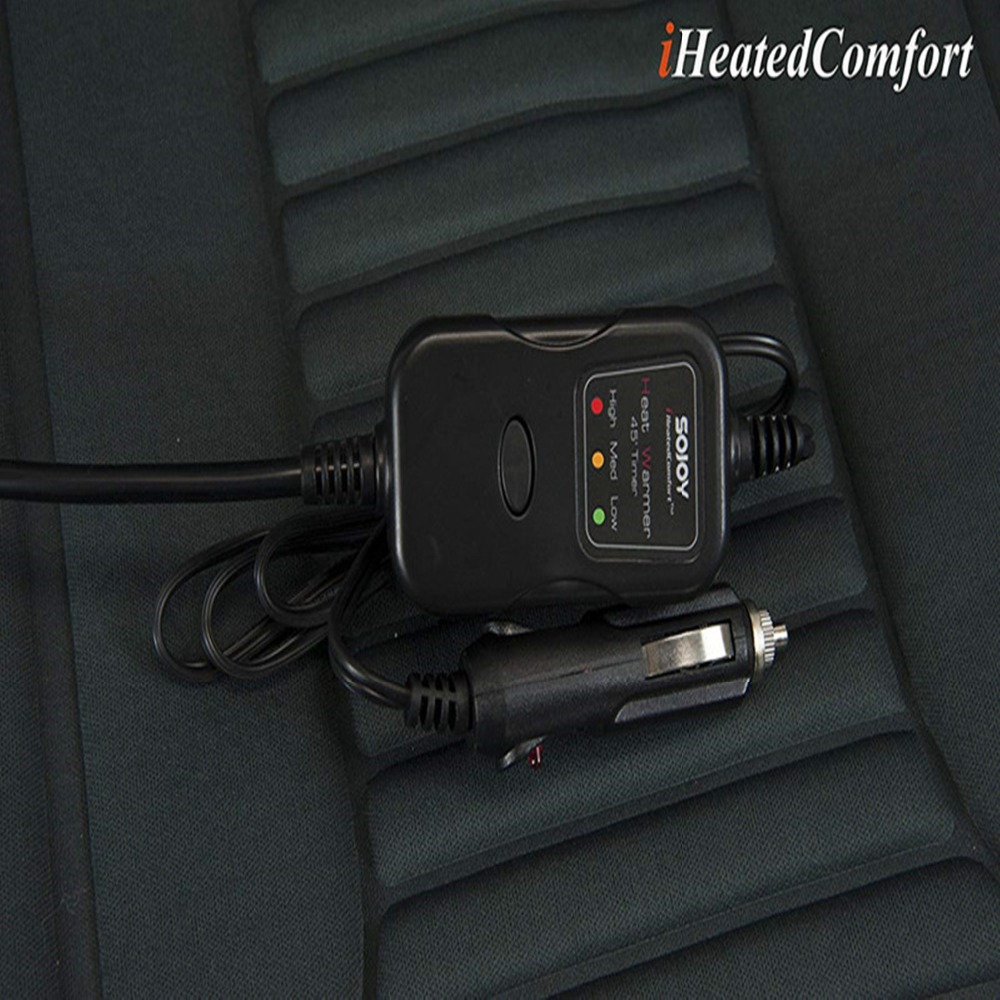 Black Sojoy Universal 12V Thickening Heated Car Seat Heater Heated Cushion Warmer