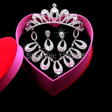 Free Shipping 2015 Vintage Water Drop Crystals Wedding Jewelry Sets Top Quality Crown Accessorios Para Cabelo 20415