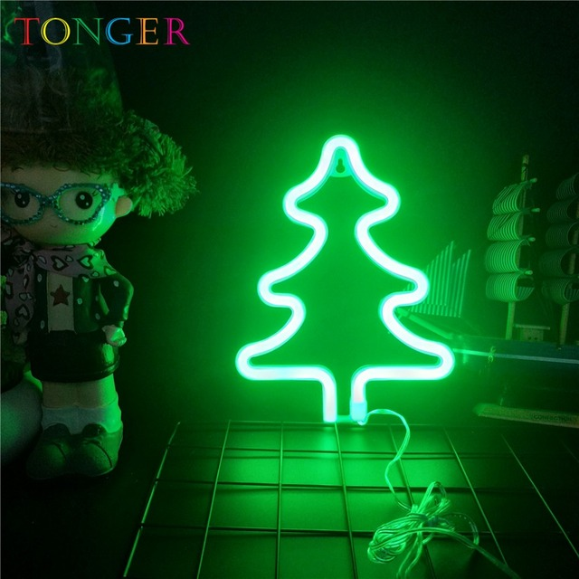 Tonger Led Night Lamp Battery Neon Light Sign Wall Decor Christmas Tree Marquee Lighting Decoration Kids Gifts Name