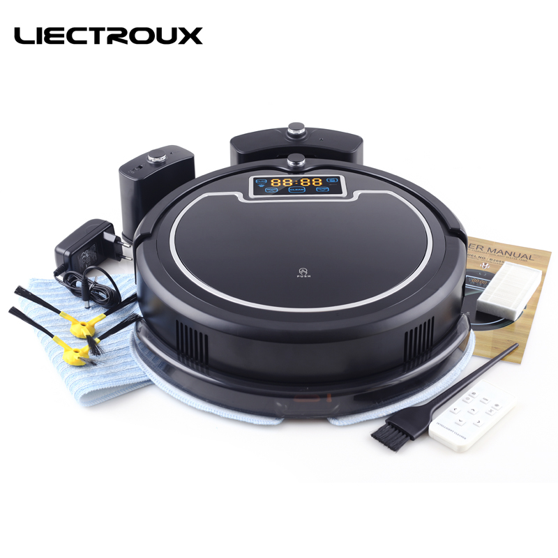 (Free to all)LIECTROUX B2005PLUS Wet and Dry Mop Robot Vacuum Cleaner with SelfCharge Home Smart Remote Control  Cleaning Robot 2017 best 2in1 wet and dry smart vacuum cleaner fm01a selfcharge robot vacuum cleaner for home floor washing clean free shipping
