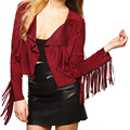 2016 Fashion Women Cardigan Miracle Tassel Sexy Cover Up Tops Red Solid Blouse Bohemian vestidos vintage Shirts  breathable