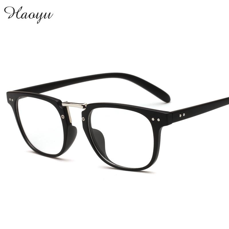 haoyu plastic alloy full plain glasses frames retro vogue eyeglasses optical prescription glasses frame optical