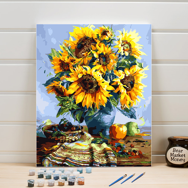 Paint By Numbers Flower Canvas Oil Painting DIY Acrylics Coloring Digital Module Pictures For Living Room Wall Crafts Arts Woman