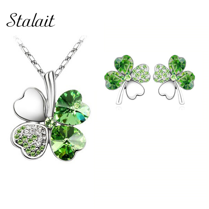 Fashion Wedding Jewelry Sets For Brides Austrian Crystal Rhinestones Gold  Color Lucky Clover Necklace Earrings Jewelry 8b1beb7b66de