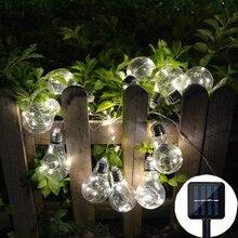 Водонепроницаемый уличный Солнечный ламповый светильник, гирлянда, светодиодный светильник, s шар, глобус, патио, цепные лампы, Рождественская фея, гирлянда, лампа