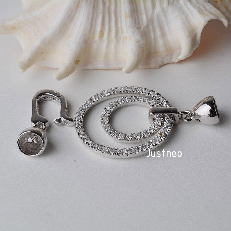 Fermoir en argent sterling 925 massif, fermoir rond en zircon cubique, bijoux en perles de rhodium - 5