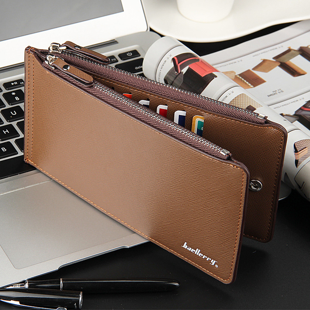 wallet Men Business Leather Card Holder Billfold Purse Long wallet men coin pocket leather purse High Quality Male Card ID Hold