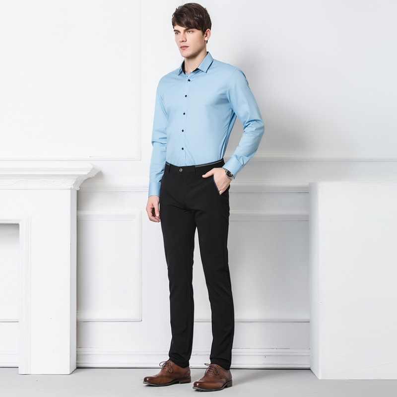 2020 frühling Nicht-Eisen Kleid Männer Klassische Hosen Mode Business Chino-Hose Männlichen Stretch Slim Fit Elastische Lange Casual schwarz Hosen