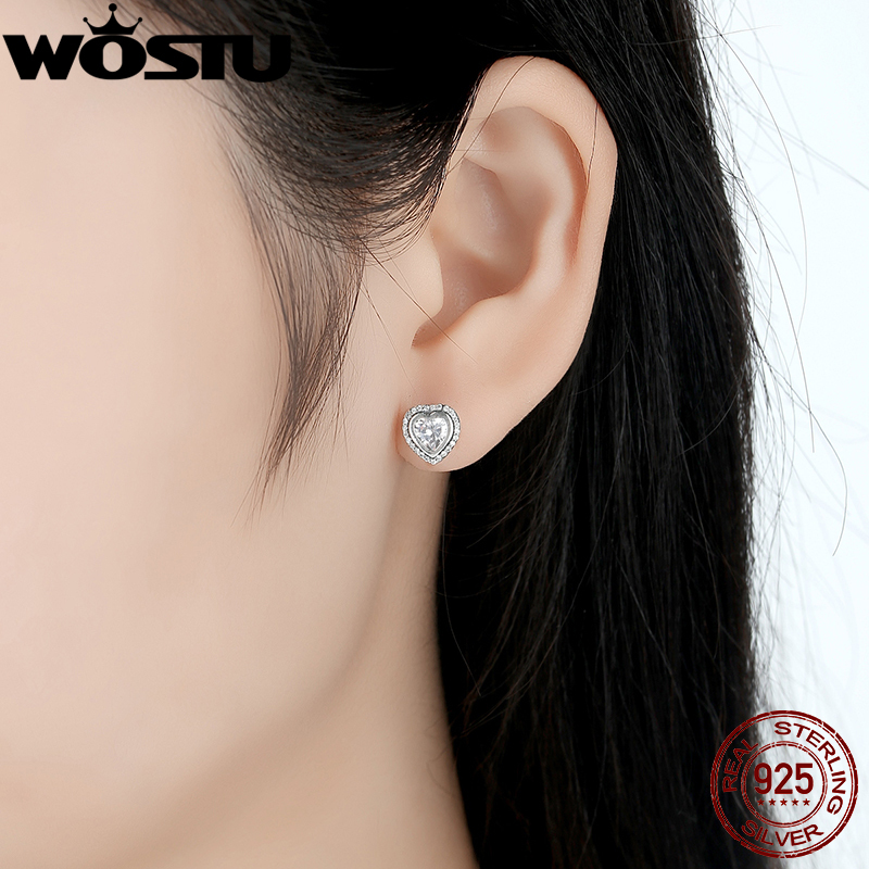 Original 925 Sterling Silver Sparkling Love Stud Earrings With Clear Cz For Women Compatible Jewelry Gift In From Accessories