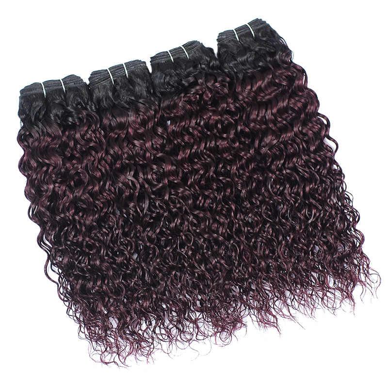 Shiningstar Braziliaanse Haar Weave Ombre Bordeaux Bundels T1B/135 Druif Paars 100% Menselijk Haar Water Wave Bundels Remy 1 /3/4 Pcs