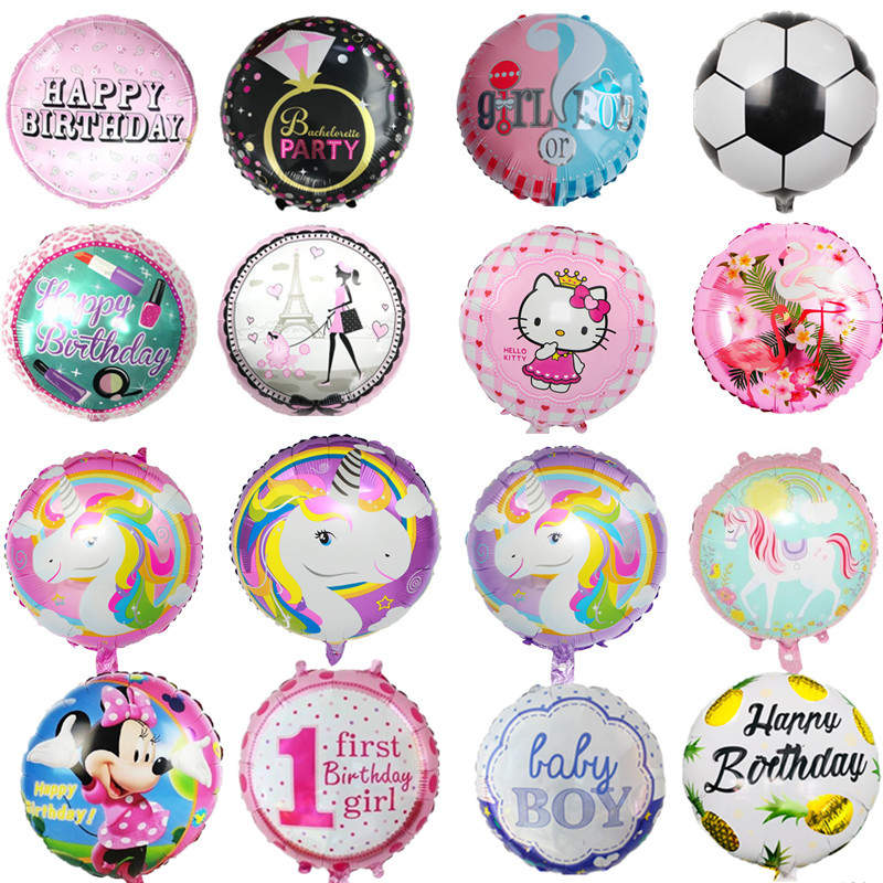 18Inch Unicorn Flamingo Kitty Pineapple Boys or Girls 1st Happy Birthday Balloons Party  ...