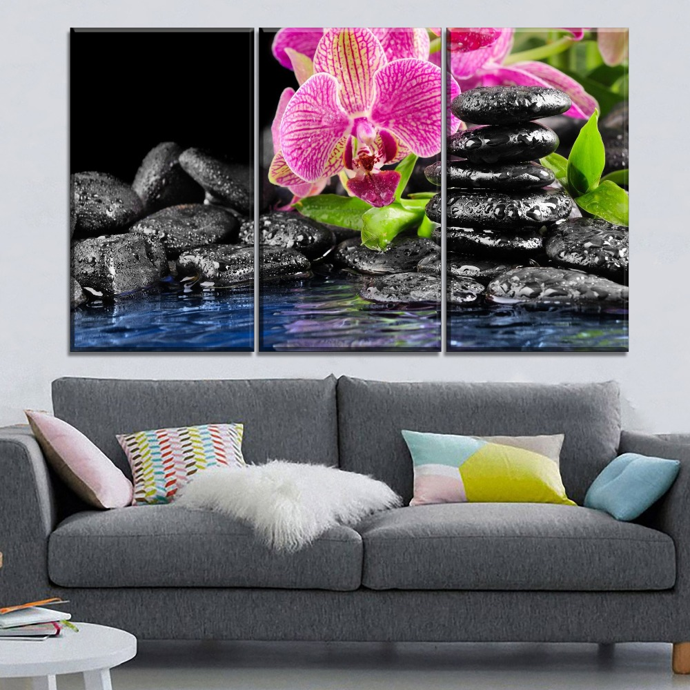 Modern Canvas Print Nature Purple Orchid And Zen Picture ...