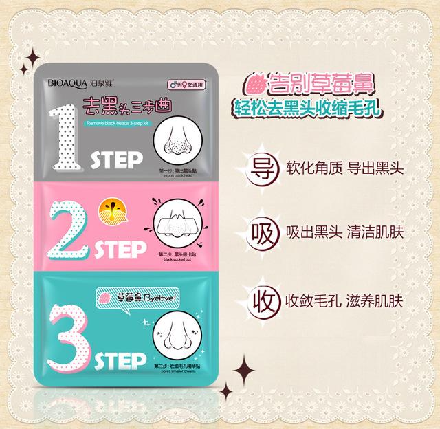 3 steps to blackhead remover korean cosmetics facial face black head mask acne charcoal sheet mask Peeling Peel Off nose mask