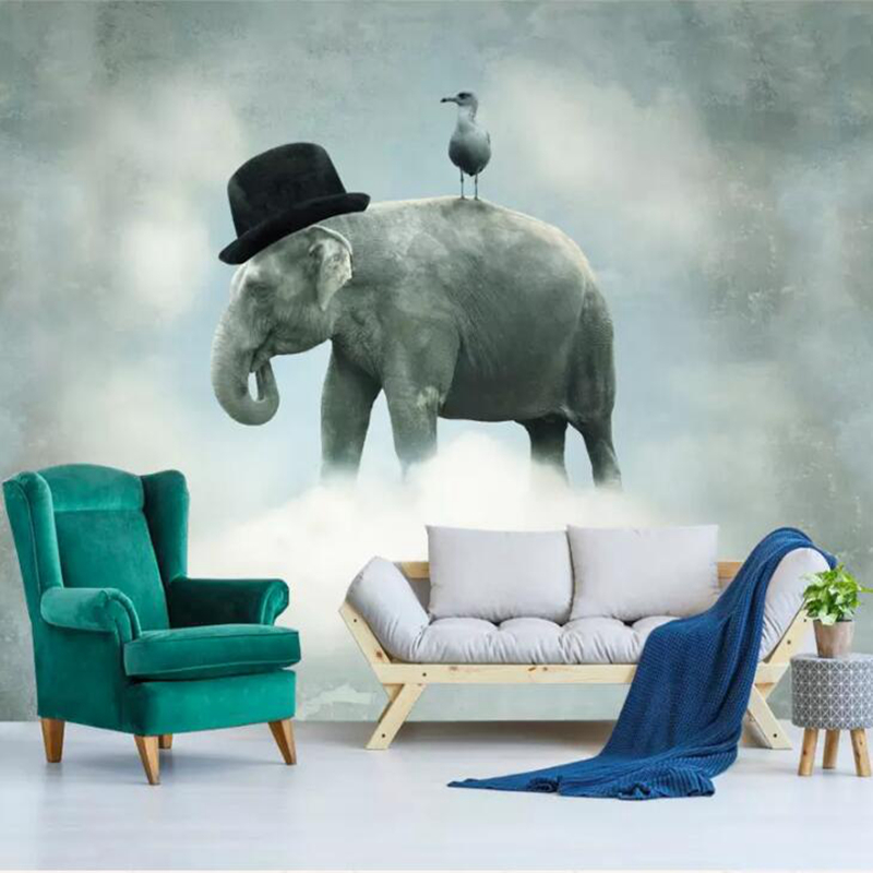 Wallpapers YOUMAN 3d Photo Wallpaper Mural Walls Decor Home Improvement Wall Painting Cap Elephants Wallpaper Living Room Mural original s9 sport wireless bluetooth 4 0 handfree earphone headset headphones support tf card for iphone 6 6s samsung all phones