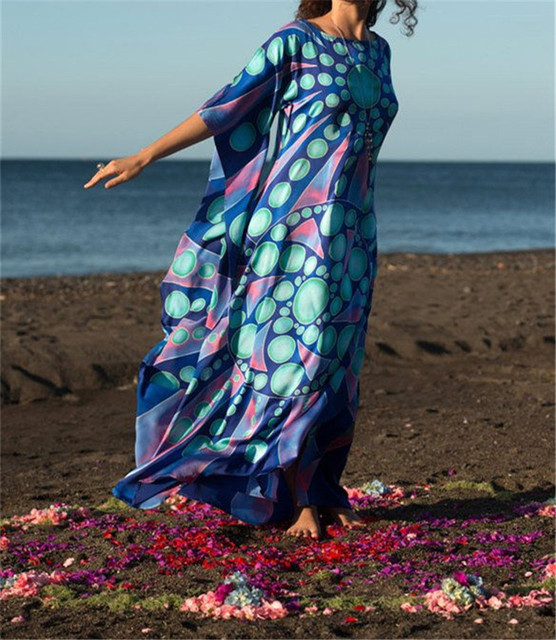 ea3602b57 ... playa algodón Mujer túnica caftán Sarong. 2019 Summer Women Beachwear  Bath Dress Swim Wear Bathing Suit Cover Up Bikini Wrap Beach Woman