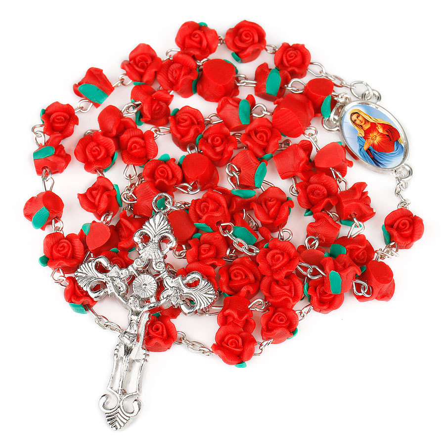 New Arrival 8mm Polymer Clay Rose Beads Rosary Catholic Necklace With Holy Soil Medal Crucifix Prayer Religious Cross Necklaces