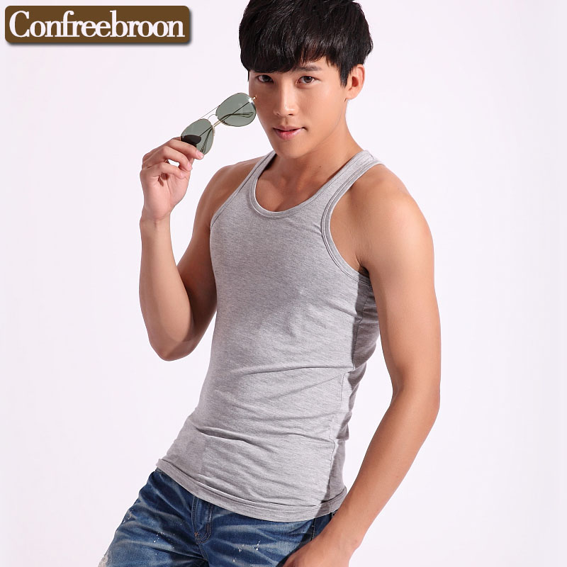 Mens Solid color I-beam vest Bottoming shirt Modal thin section vest large code Slim Hig ...
