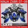 HOT Blue Fairing Body For KAWASAKI NINJA ZX6R 07 08 ZX 6R ZX636 10K0 ZX 6R