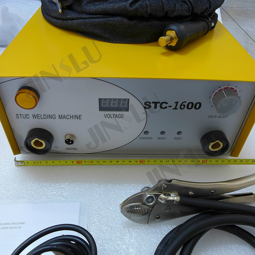 110V Capacitor Discharge Stud Welding Machine STC-1600 With Stud Torch 320pc capacitor discharge welding studs ws 320