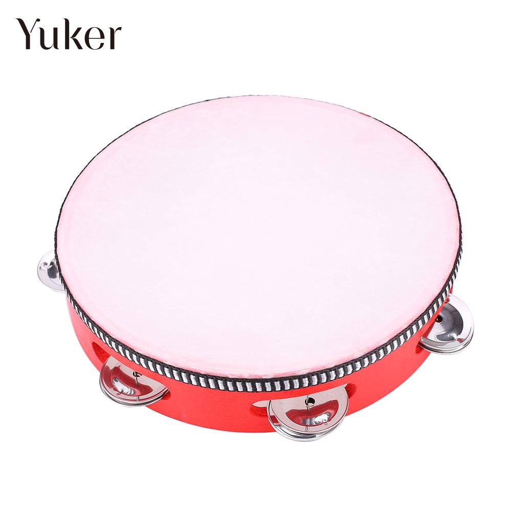 8 Inches Hand Held Musical Tambourine Drum KTV Party Percussion Children Educational Tambourine Musical Instruments