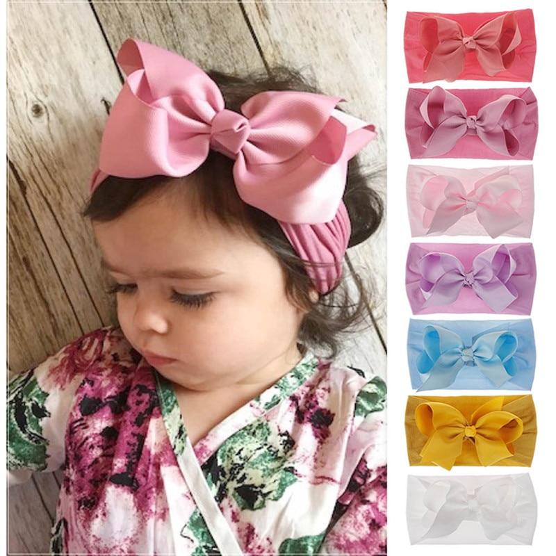 17 Color Baby Hair Big Bow Flower Headband Silver Ribbon Hair Band Handmade DIY Hair Accessories For Children Newborn Toddler
