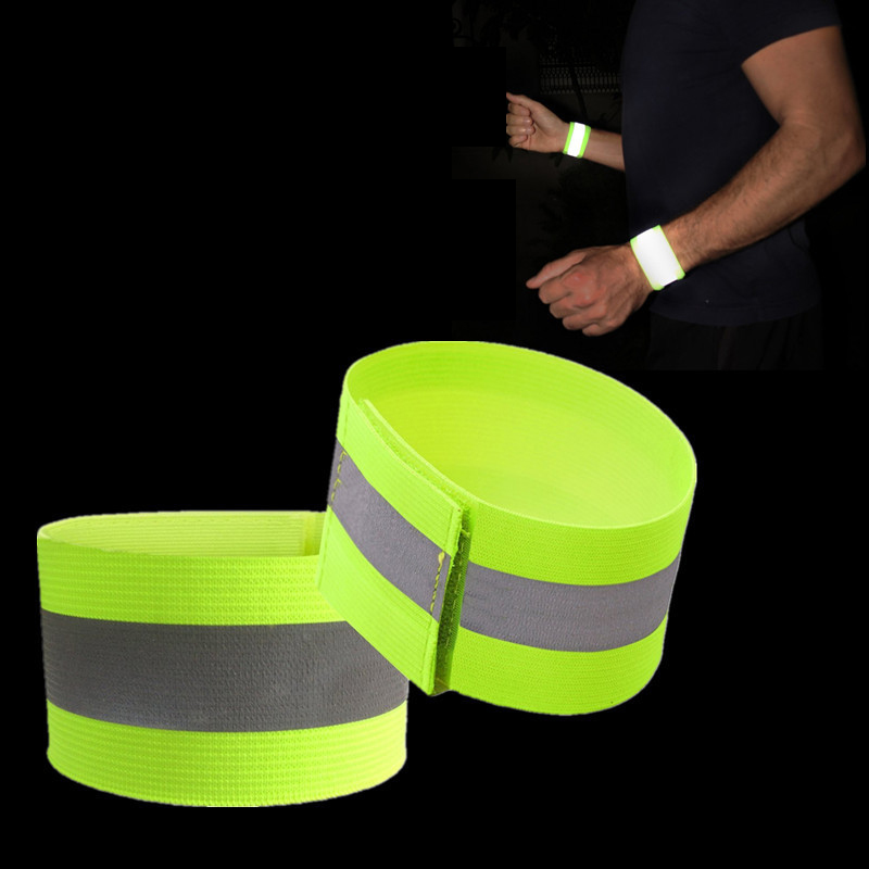 4pcs High Visibility Band Reflection Elastic Wristbands Ankle Straps Emergence Safety Warning Bands Running Cycling Reflective