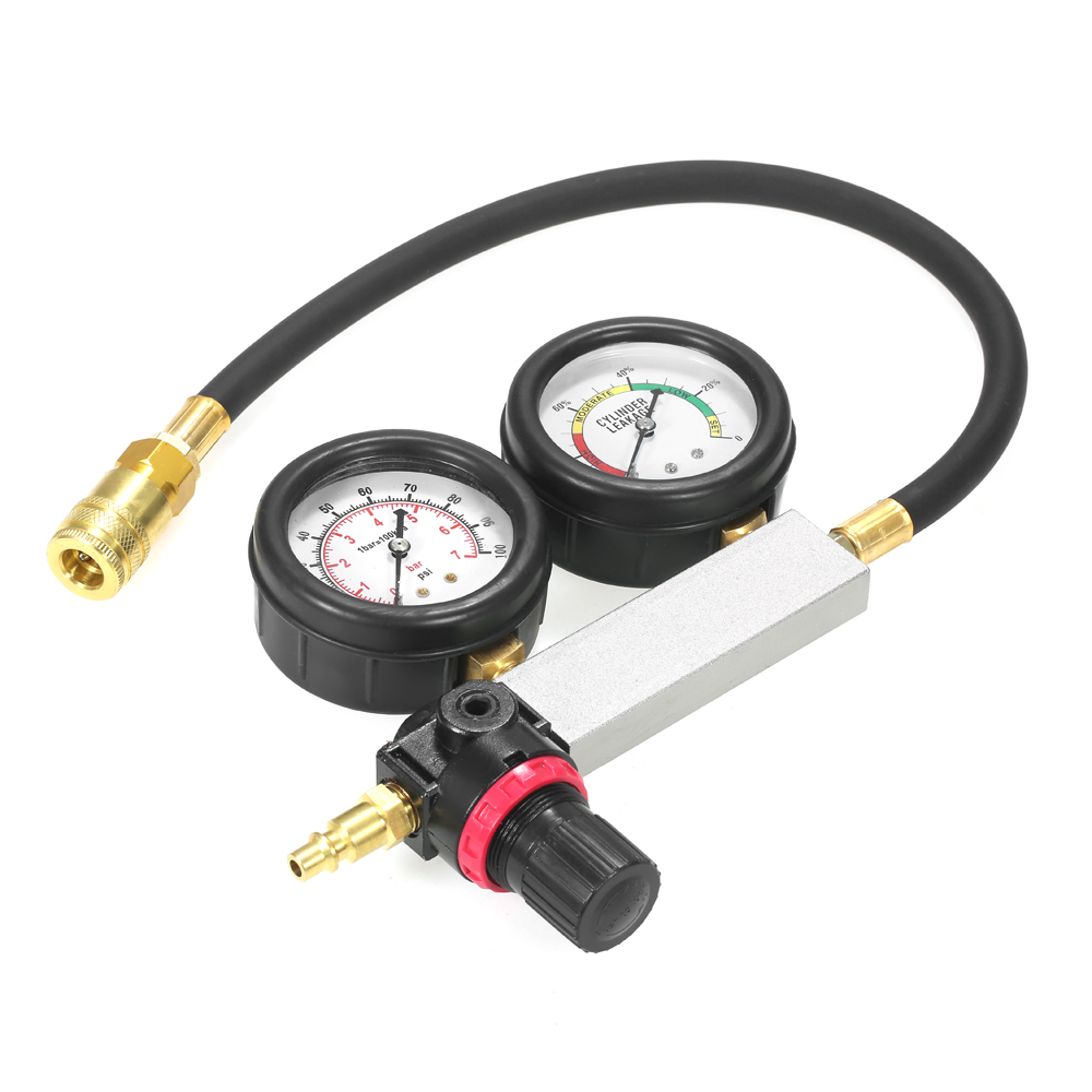 Auto Cylinder Leak Tester Compression Leakage Detector Pressure gauge sensor Barometer Tool Kit Set Double Gauge System &Case combination tool set r410 double gauge valve expander vtb 5b