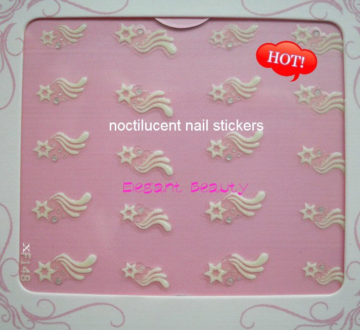 Новые 150 стили Glow-In-The-Dark Дизайн Ногтей French Nail Patch Совет 3D наклейки для ногтей 600 шт./лот EMS/DHL