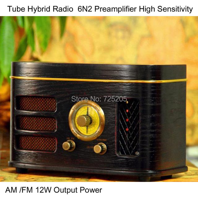 Tubo híbrido Radio alta sensibilidad 6N2 preamplificador 12 W de potencia de salida AM / FM 4 pulgadas de altavoces de escritorio gabinete de madera