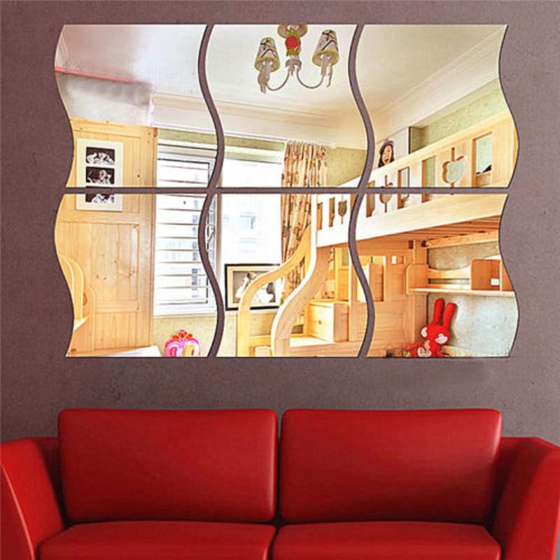6pcs/set DIY S Shaped  Acrylic Mirror Effect Sticker Wall Sticker Mirror Surface Wall Stickers Home Decoration Side 10.7*12cm