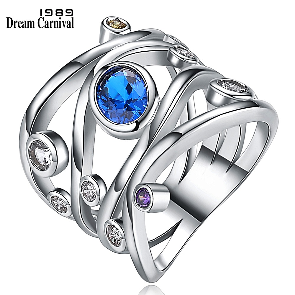 DreamCarnival 1989 Braided Wide Hollow Rings for Lady Purple White Blue Cubic Zircon Engagement Party Wholesale Jewelry WA11422