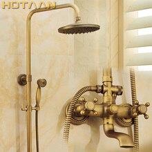 """Antique Brass Wall Mounted Mixer Valve Rainfall Shower Faucet Complete Sets + 8"""" Brass Shower Head + Hand Shower + Hose YT 5317A"""