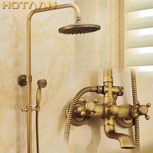 """Robinet mitigeur mural en laiton Antique ensembles complets de robinets de douche pluie + pomme de douche en laiton de 8 """"+ douchette à main + tuyau YT 5317A"""