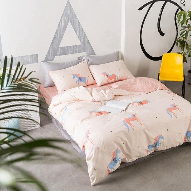 sweet pink unicorn bedding set 100 cotton duvet cover cute flat sheet pillowcase twin queen - Unicorn Bedding