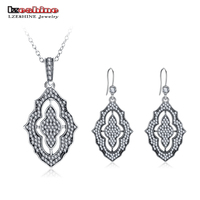 LZESHINE Vintage 925 Sterling Silver Pendant Necklace Earrings Sets Africa Bride Jewelry Sets for Wedding Engagement PSST0008 B