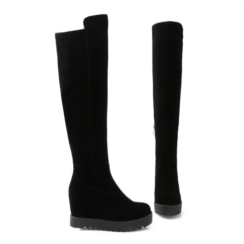 Zip Plate Hauteur Noir Cuissardes Femme Memunia Cuisse Mode Haute Chaussures Augmentant Hiver Bottes Flock Automne forme O8X0wnPk