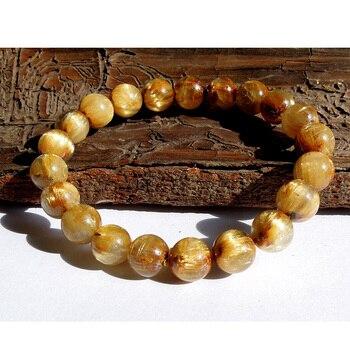 Free Shipping Wholesale Natural Genuine Titanium Gold Needle Rutile Quartz Stretch Bracelet Round Jewelry beads 9mm