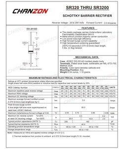 20 шт. SR3200 (S3200) Schottky барьер выпрямитель диоды 3A 200 в DO-201AD (DO-27) осевой 3 Ампер 200 Вольт SR 3200