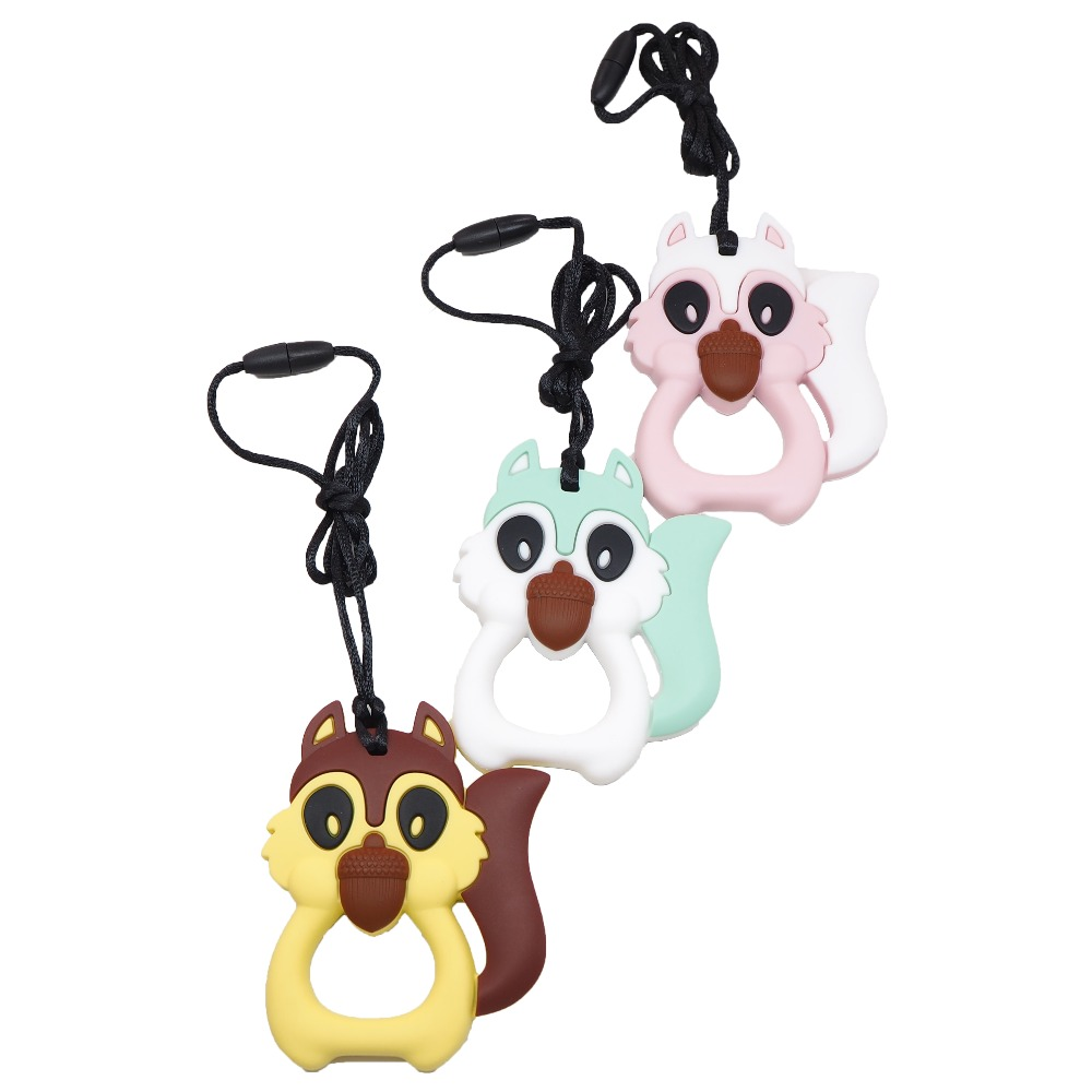 Chenkai 10PCS Silicon Squirrel Teether Baby Animals Pacifier Teething BPA Free For DIY Baby/Infant Nursing Chewing