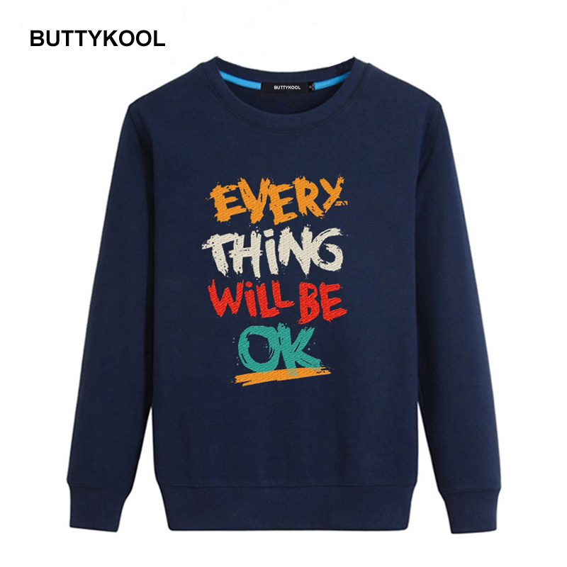 BUTTYKOOL 2017 Spring Autumn Men s Hoodies Cotton Men Sweatshirts Casual hoodies Letter Printed Plus Size