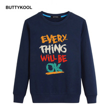 BUTTYKOOL 2017 Spring Autumn Men's Hoodies Cotton Men Sweatshirts Casual hoodies Letter Printed Plus Size Top Quality