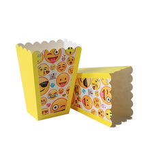 6pcs Emoji Disposable Tableware Popcorn box Happy Birthday Party Decorations Supplies Easter Baby shower wedding Activity goods 1set emoji disposable tableware banner sign flags happy birthday party decorations supplies easter baby shower activity goods