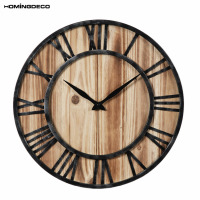 Homingdeco Creative 3d Wall Clock Vintage Round Wooden Hollowed Out Living Room Livingroom Hanging Clock Household