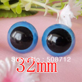 fress ship!!!100pcs/lot 32mm blue color   toy eyes/ safety eyes with PLASTIC lock-washers/Doll toy doll eyes