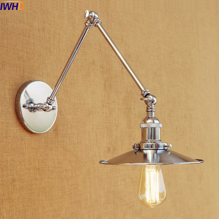 IWHD Silver Swing Long Arm Vintage Wall Lamp LED Stair Lights Edison Loft Industrial Wall Light Fixtures Apliques Pared